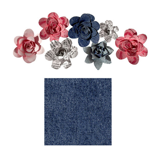 Imaginisce - Gotta Buy Basics Collection - Roly Rosies - Fabric - Denim