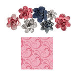 Imaginisce - Gotta Buy Basics Collection - Roly Rosies - Fabric - Pink Swirls