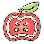 Imaginisce - Happy Harvest Collection - Sang 'em Acrylic Stamps - Apple