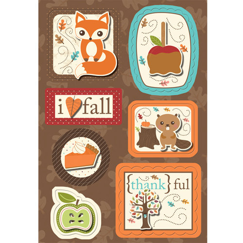 Imaginisce - Happy Harvest Collection - Sticker Stacker - 3 Dimensional Stickers with Glossy Accents - Pile on the Fun