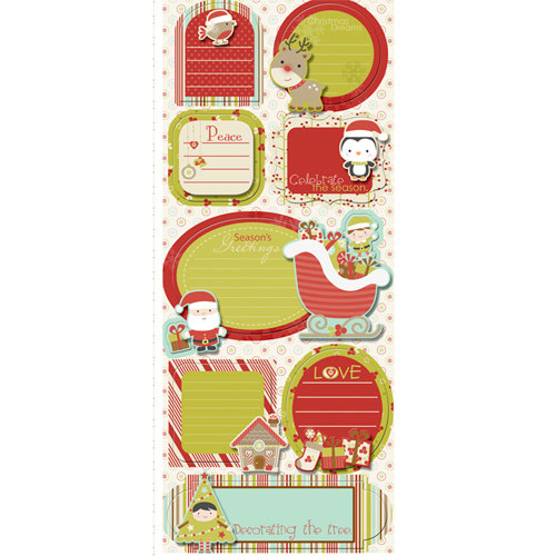 Imaginisce - Santa's Little Helper Collection - Christmas - Sticker Stacker - 3 Dimensional Stickers with Glossy Accents - Christmas Sentiments