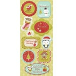 Imaginisce - Santa's Little Helper Collection - Christmas - Chipboard Stickers with Glossy Accents - Stocking Stuffers