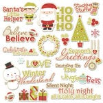 Imaginisce - Santa's Little Helper Collection - Christmas - Die Cut Cardstock Pieces with Glossy Accents - Season's Greetings Word