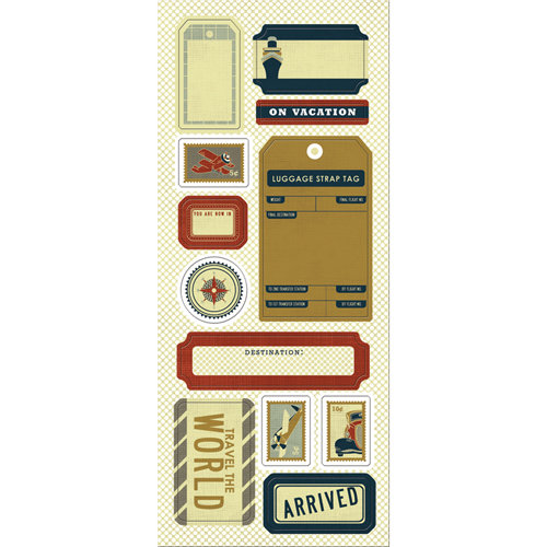 Imaginisce - Bon Voyage Collection - Chipboard Stickers with Glossy Accents - Travel the World