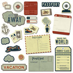 Imaginisce - Bon Voyage Collection - Die Cut Cardstock Pieces with Glossy Accents - Destination