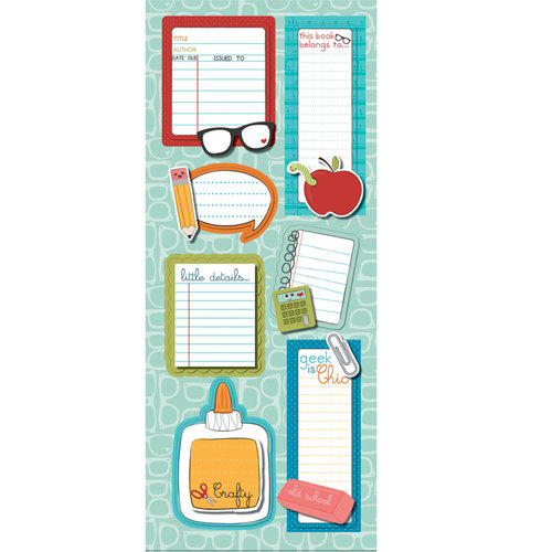 Imaginisce - Geek is Chic Collection - Sticker Stacker - 3 Dimensional Stickers with Glossy Accents - A to Z Notes