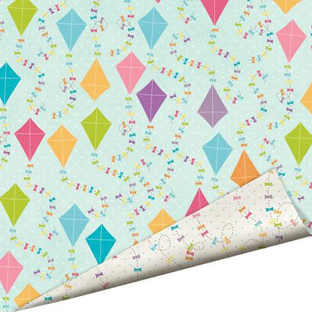Imaginisce - Hippity Hop Collection - 12 x 12 Double Sided Paper with Glossy Accents - Fly a Kite