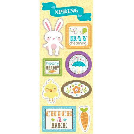 Imaginisce - Hippity Hop Collection - Chipboard Stickers with Glossy Accents - Bunny Day