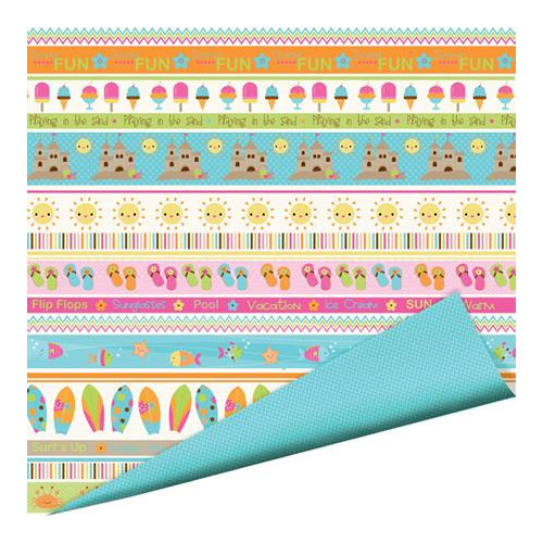 Imaginisce - Makin' Waves Collection - 12 x 12 Double Sided Paper with Glossy Accents - Walking on Sunshine