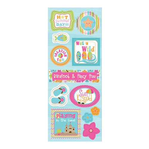 Imaginisce - Makin' Waves Collection - Chipboard Stickers with Glossy Accents - Hot Summer Day