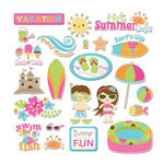 Imaginisce - Makin' Waves Collection - Die Cut Cardstock Pieces with Glossy Accents - Sun-Kissed