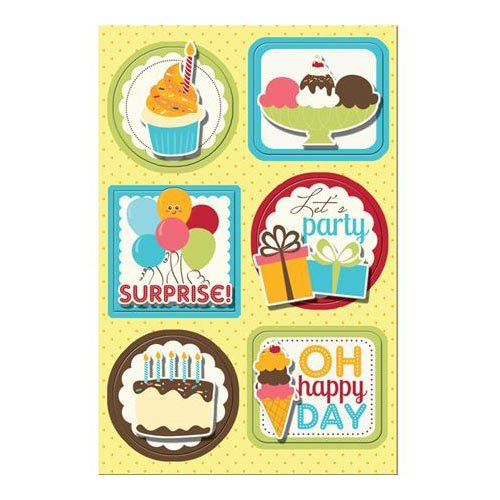 Imaginisce - Hello, Cupcake Collection - Sticker Stacker - 3 Dimensional Stickers with Glossy Accents - Surprise