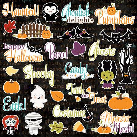 Imaginisce - Monster Mash Collection - Halloween - Die Cut Cardstock Pieces with Glossy Accents - Ghoulish Delights