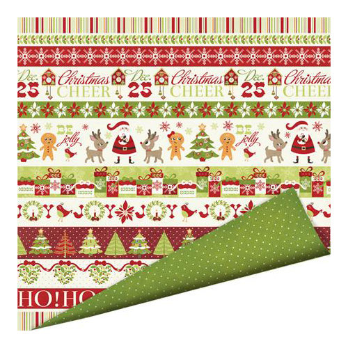 Imaginisce - Christmas Cheer Collection - 12 x 12 Double Sided Paper with Glossy Accents - Christmas Joy