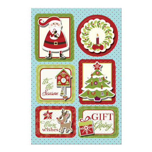Imaginisce - Christmas Cheer Collection - Sticker Stacker - 3 Dimensional Stickers with Glossy Accents - Gift Giving