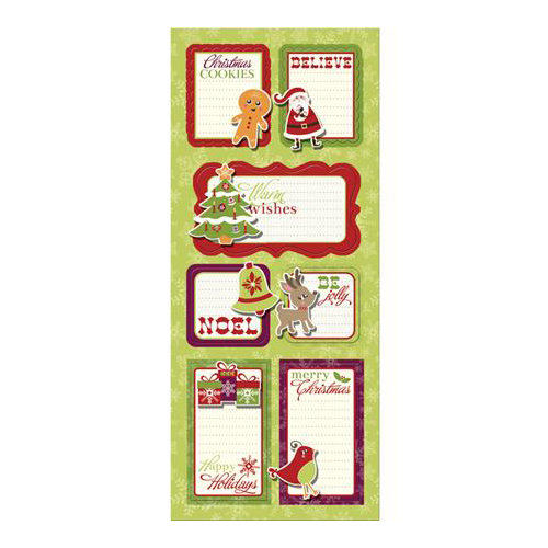 Imaginisce - Christmas Cheer Collection - Sticker Stacker - 3 Dimensional Stickers with Glossy Accents - Happy Holidays