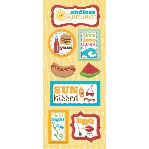 Imaginisce - Endless Summer Collection - Chipboard Stickers - Live, Love, Swim