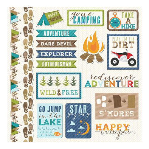 Imaginisce - Outdoor Adventure Collection - 12 x 12 Cardstock Stickers - Icons