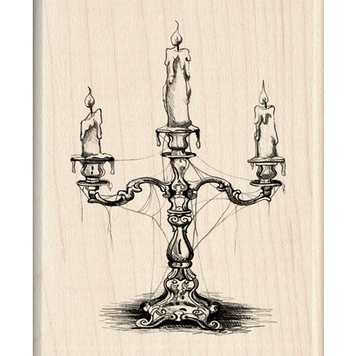 Inkadinkado - Halloween Collection - Wood Mounted Stamps - Candelabra