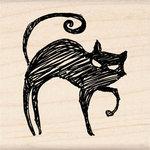 Inkadinkado - Halloween Collection - Wood Mounted Stamps - Black Cat