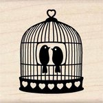 Inkadinkado - Valentine's Day Collection - Wood Mounted Stamps - Heart Bird Cage