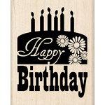 Inkadinkado - Birthday Fun Collection - Wood Mounted Stamps - Happy Birthday Cake