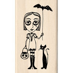 Inkadinkado - Halloween Collection - Wood Mounted Stamps - Goth Girl