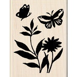 Inkadinkado - Designer Collection - Wood Mounted Stamps - Butterfly Flowers