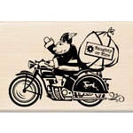 Inkadinkado - Steampunk Collection - Christmas - Wood Mounted Stamps - Motorcycle Santa