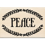 Inkadinkado - Folk Collection - Christmas - Wood Mounted Stamps - Peace Frame