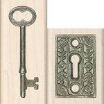 Inkadinkado - Photo Realistic Collection - Wood Mounted Stamps - Lock and Key
