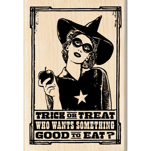 Inkadinkado - Halloween - Wood Mounted Stamps - Trick or Treat Witch