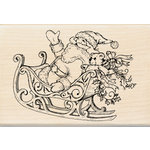 Inkadinkado - Holiday Collection - Christmas - Wood Mounted Stamps - Santa and Sleigh