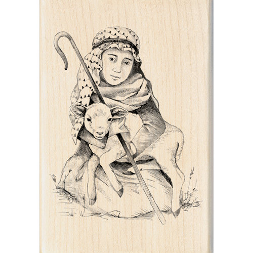 Inkadinkado - Holiday Collection - Christmas - Wood Mounted Stamps - Shepherd Boy