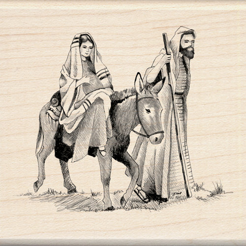 Inkadinkado - Holiday Collection - Christmas - Wood Mounted Stamps - Mary and Joseph