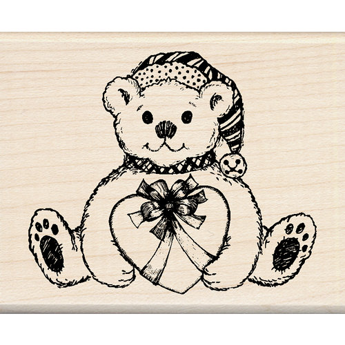 Inkadinkado - Holiday Collection - Christmas - Wood Mounted Stamps - Holiday Bear