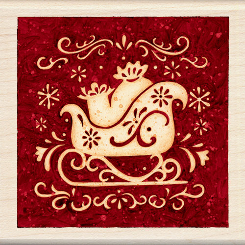Inkadinkado - Holiday Collection - Christmas - Wood Mounted Stamps - Sleigh