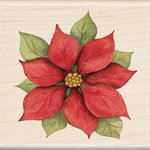 Inkadinkado - Holiday Collection - Christmas - Wood Mounted Stamps - Poinsettia