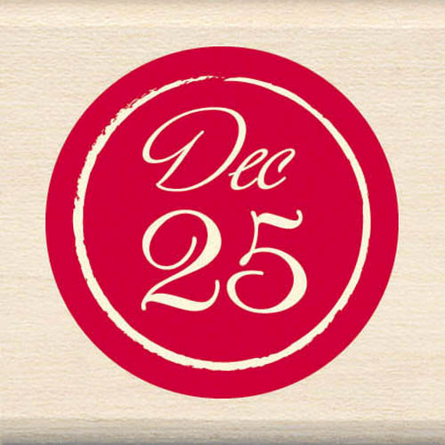 Inkadinkado - Holiday Collection - Christmas - Wood Mounted Stamps - December 25 Circle