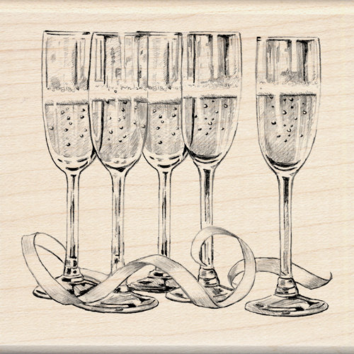 Inkadinkado - Out on the Town Collection - Wood Mounted Stamps - Champagne Glasses
