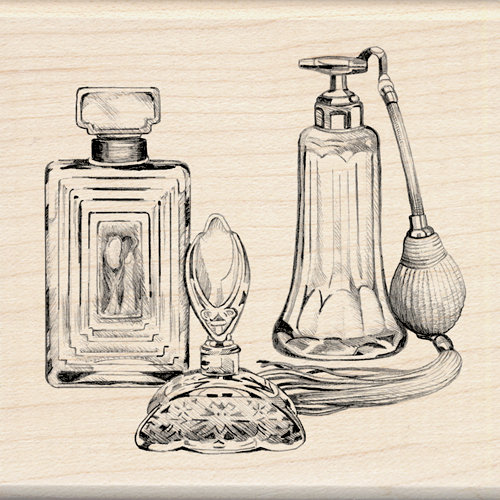 Inkadinkado - Out on the Town Collection - Wood Mounted Stamps - Antique Perfume Bottles