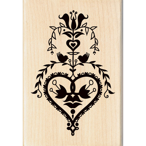 Inkadinkado - Valentine's Day Collection - Wood Mounted Stamps - Folk Art Heart