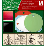 Inkadinkado - Holiday Collection - Wood Mounted Stamps and Gift Tag Set - Happy Holiday