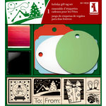 Inkadinkado - Holiday Collection - Wood Mounted Stamps and Gift Tag Set - Christmas