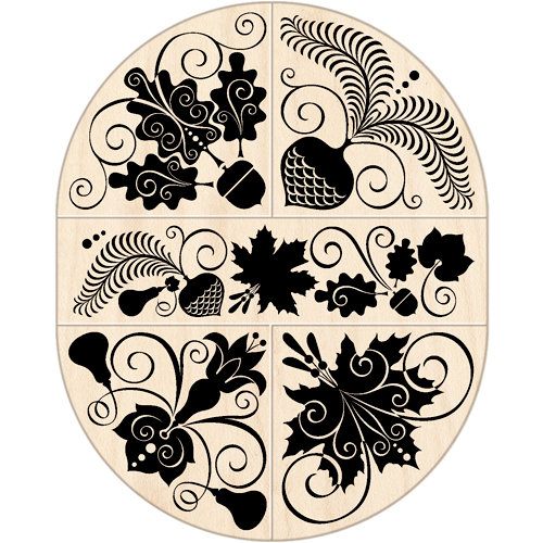 Inkadinkado - Wood Mounted Stamps - Autumn Leaves Oval Set