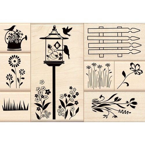 Inkadinkado - Stamp-a-Story Collection - Wood Mounted Stamps - Flower Garden Set
