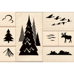 Inkadinkado - Stamp-a-Story Collection - Wood Mounted Stamps - Lake Scene Set