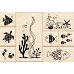 Inkadinkado - Stamp-a-Story Collection - Wood Mounted Stamps - Under the Sea Set