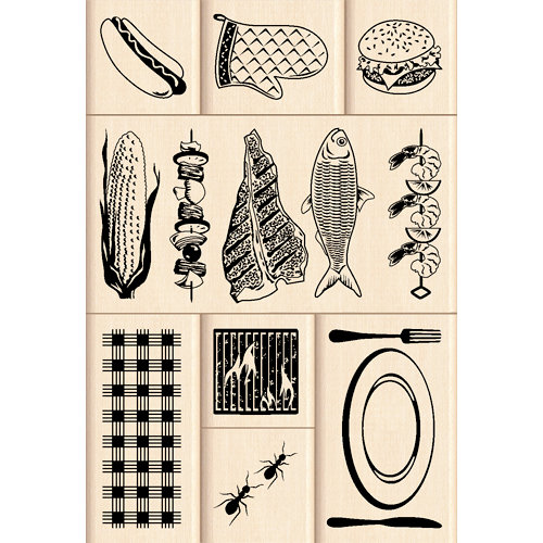 Inkadinkado - Layering Wood Scenes Collection - Wood Mounted Stamps - Backyard BBQ Set