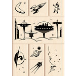 Inkadinkado - Layering Wood Scenes Collection - Wood Mounted Stamps - Outer Space Set